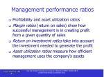 management performance ratios