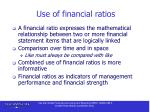 use of financial ratios