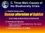 c three main causes of the biodiversity crisis