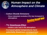 human impact on the atmosphere and climate