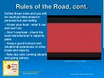rules of the road cont