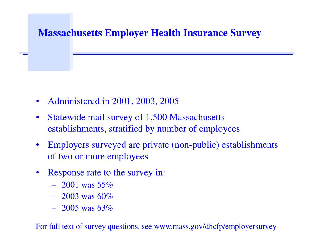 massachusetts employer health insurance survey l.