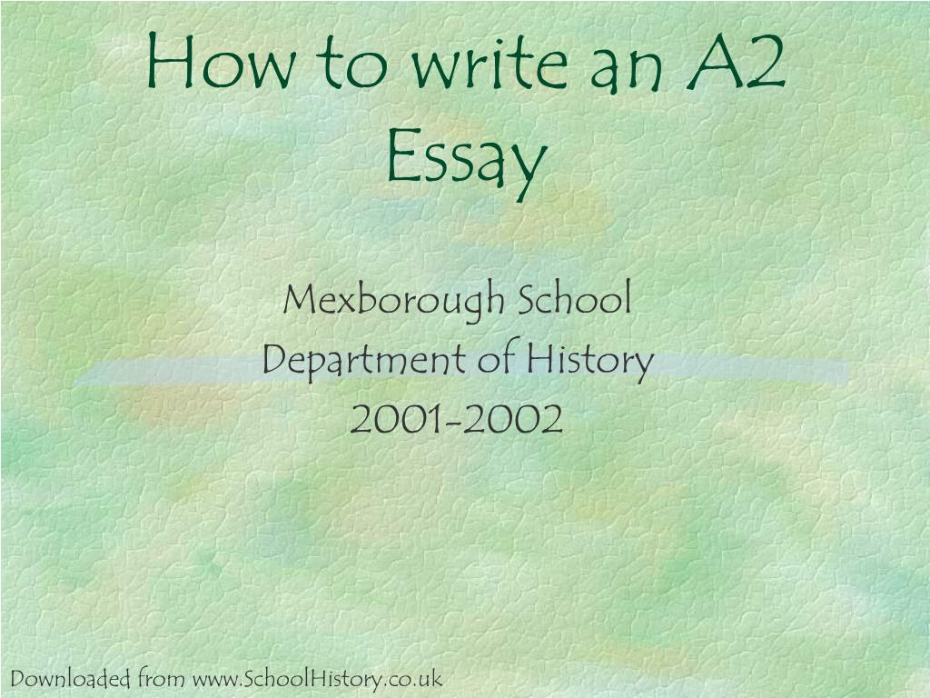 how to write an a2 essay l.