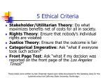 5 ethical criteria