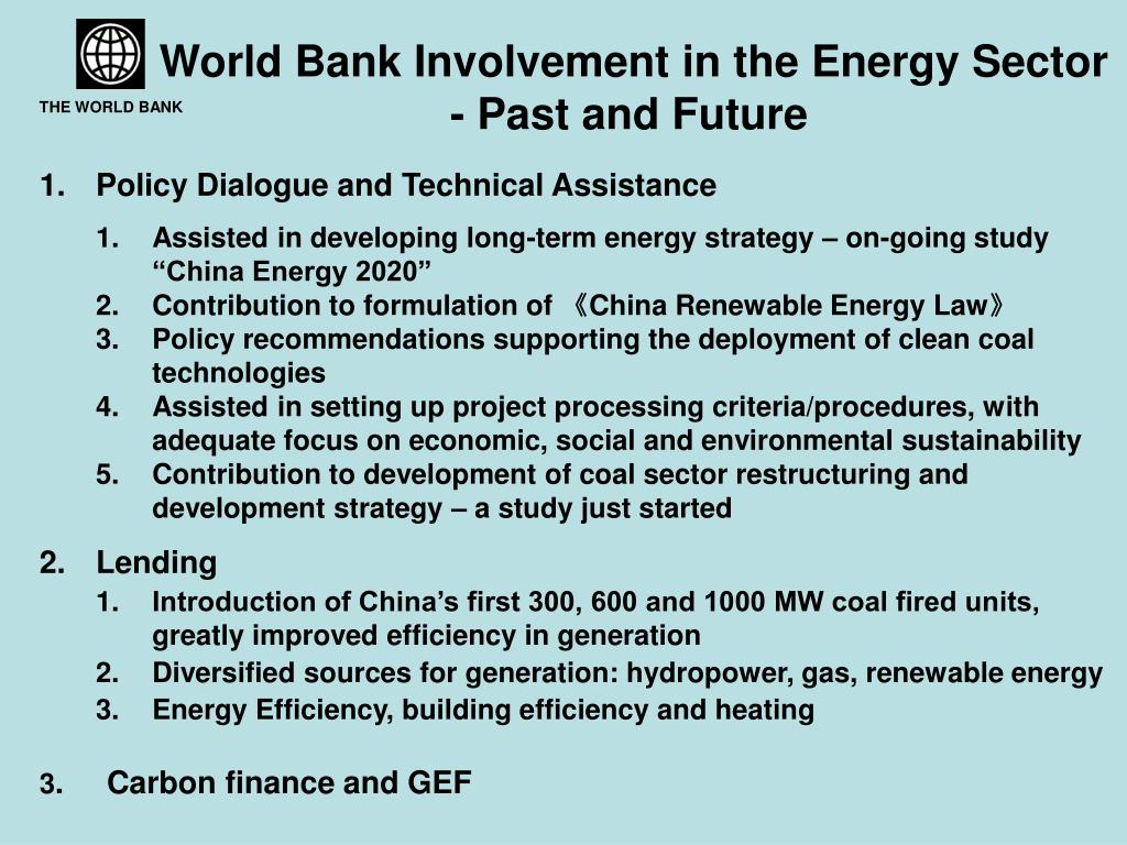 World Bank Involvement in the Energy Sector