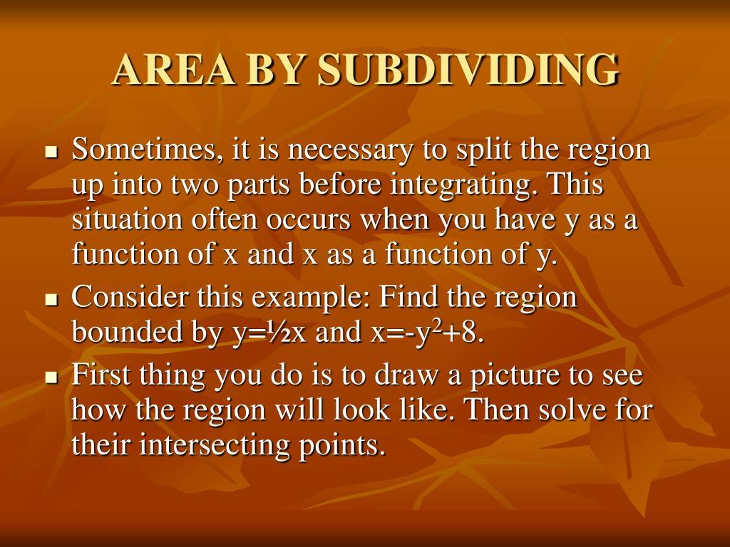 AREA BY SUBDIVIDING