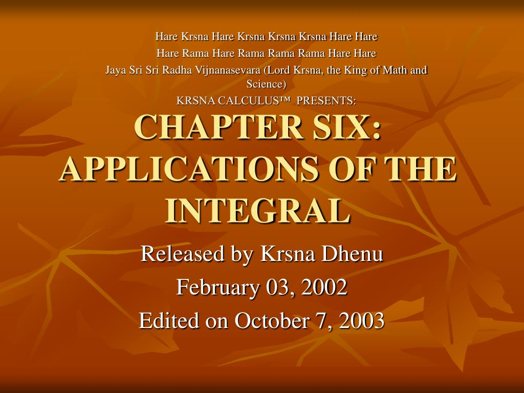 chapter six applications of the integral l.
