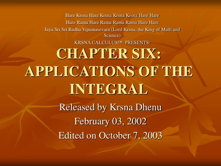 Chapter six applications of the integral