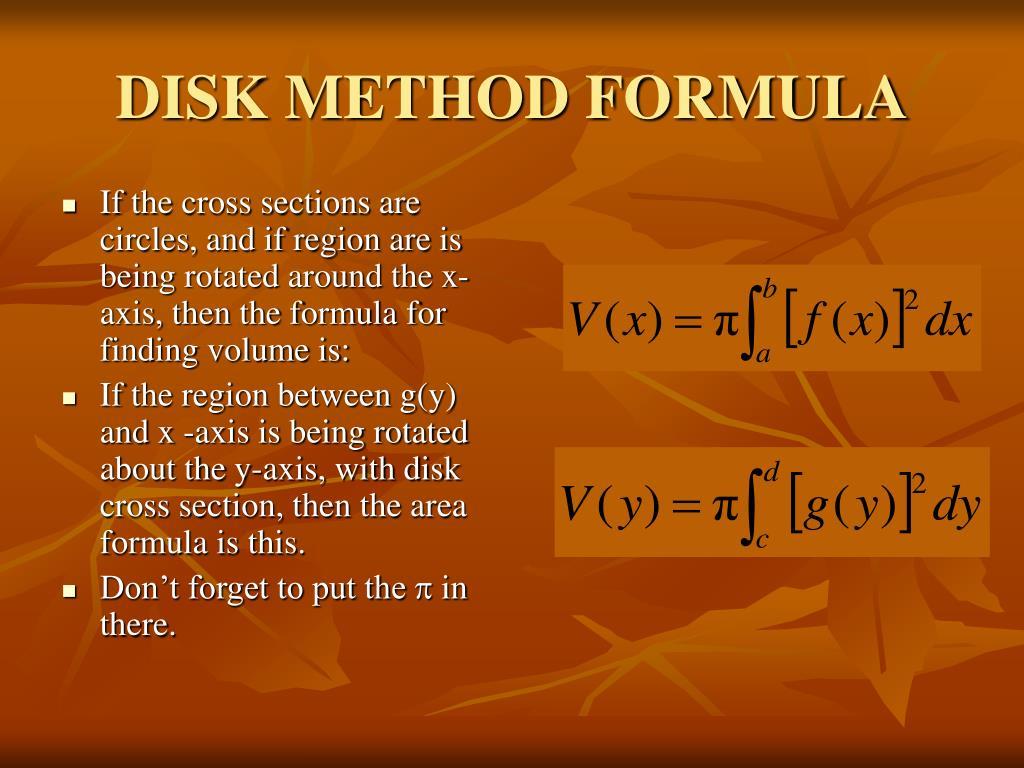 DISK METHOD FORMULA