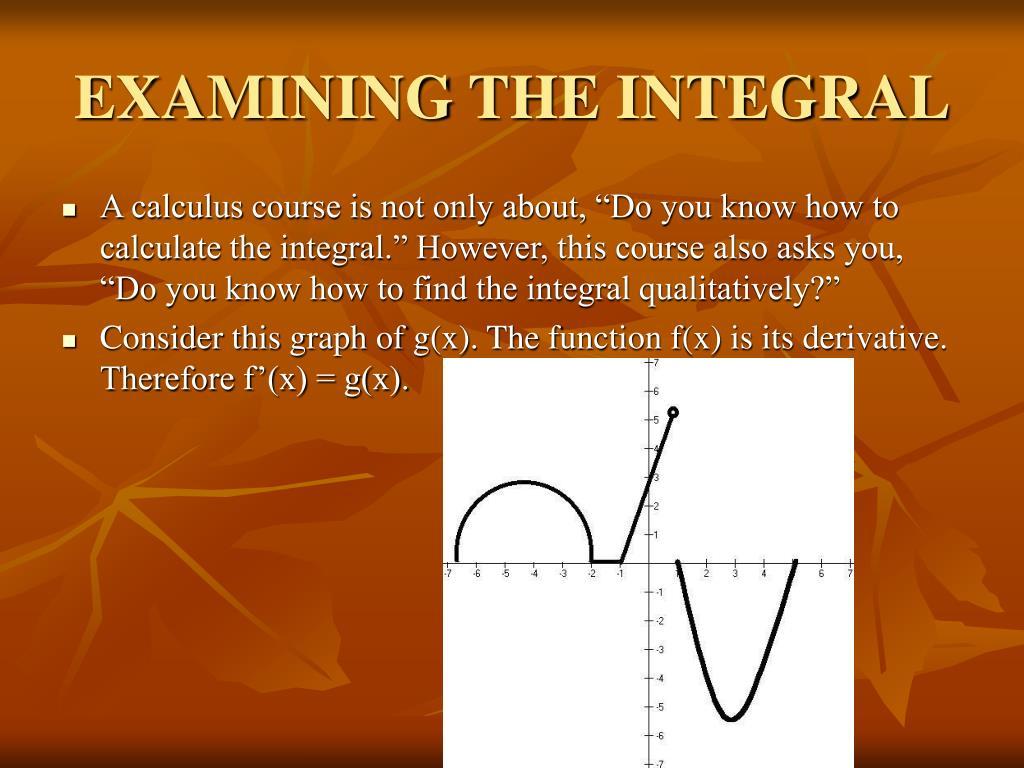 EXAMINING THE INTEGRAL
