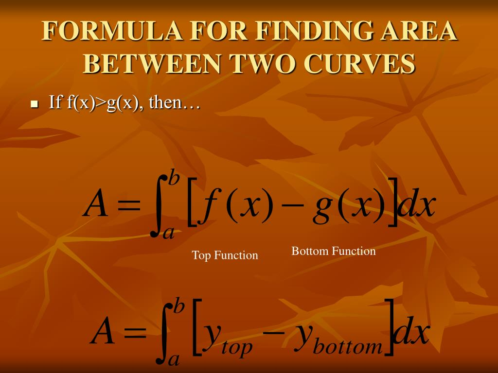 FORMULA FOR FINDING AREA BETWEEN TWO CURVES