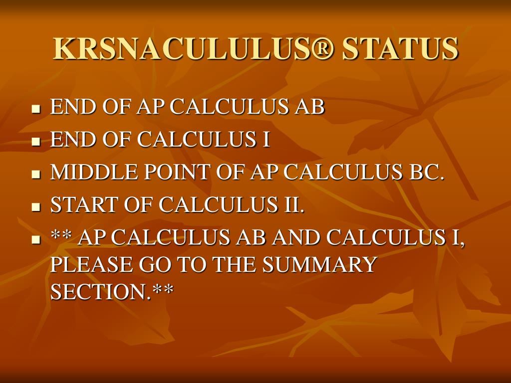 KRSNACULULUS® STATUS