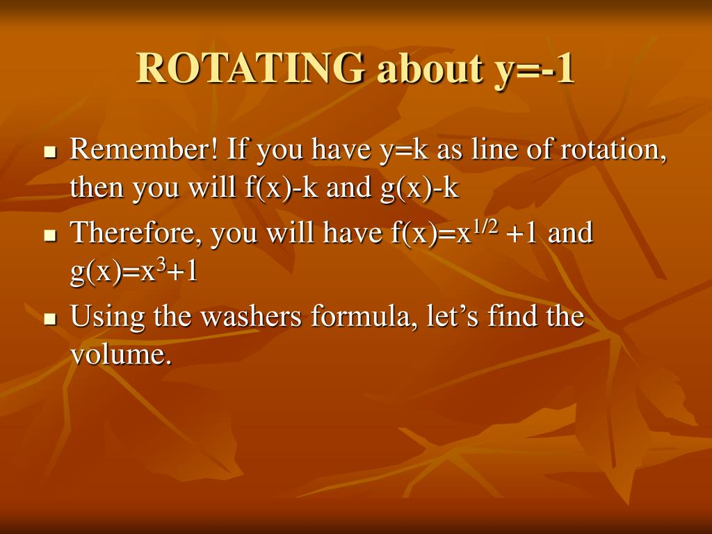 ROTATING about y=-1