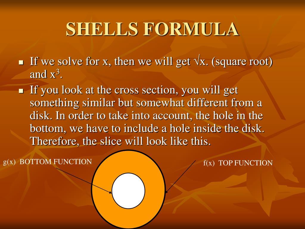 SHELLS FORMULA