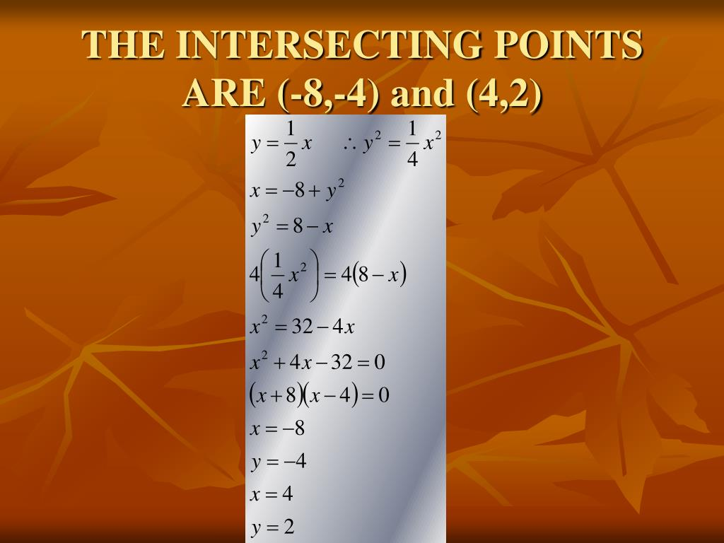 THE INTERSECTING POINTS ARE (-8,-4) and (4,2)