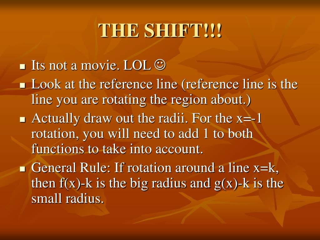 THE SHIFT!!!
