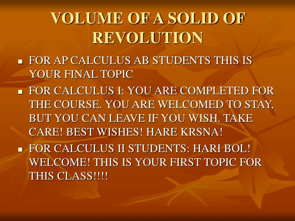VOLUME OF A SOLID OF REVOLUTION