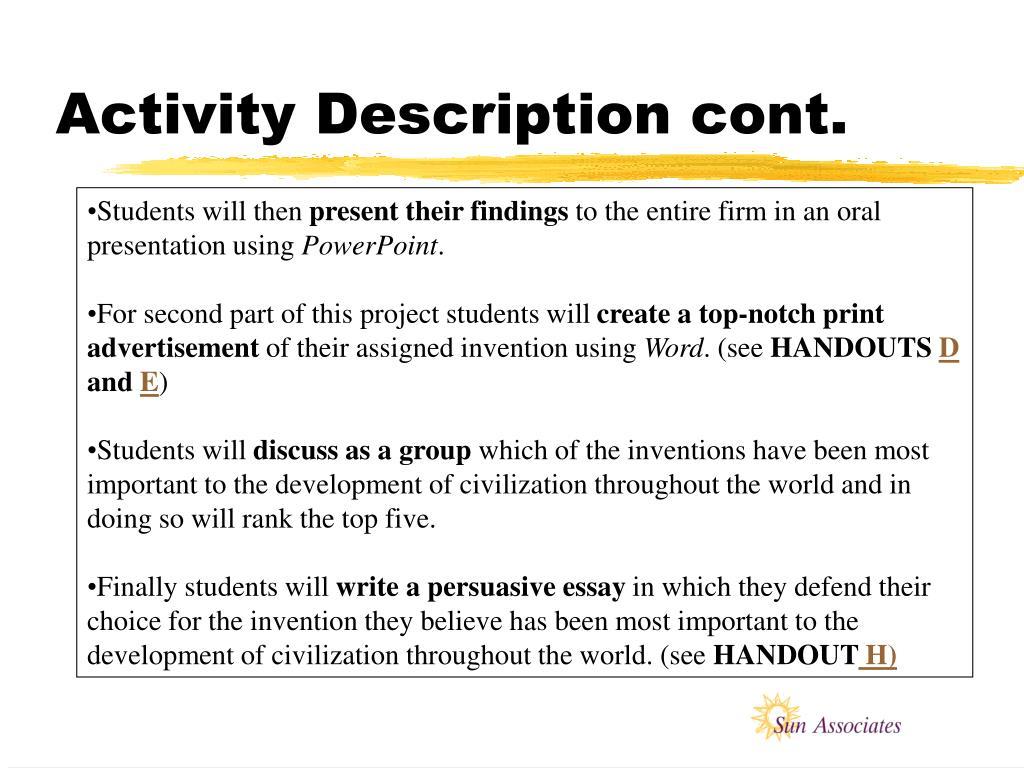 Activity Description cont.