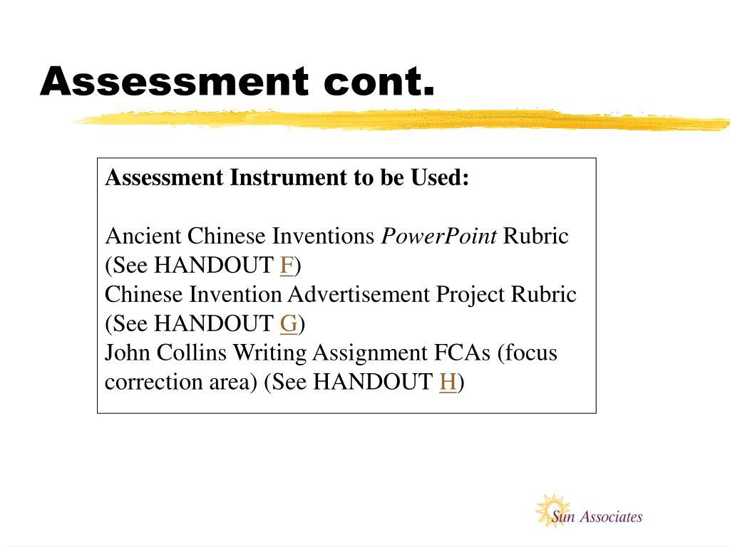 Assessment cont.