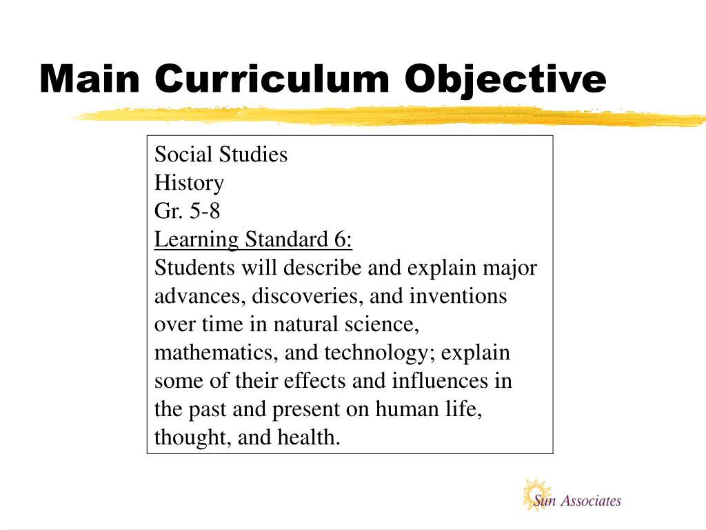 Main Curriculum Objective