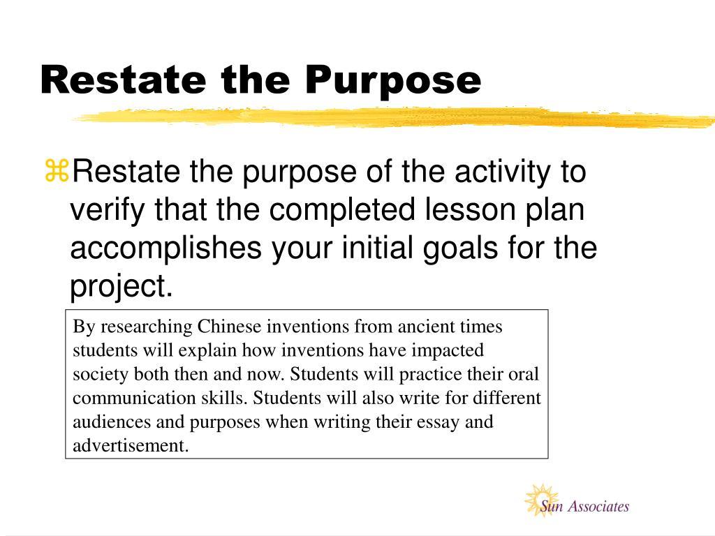 Restate the Purpose