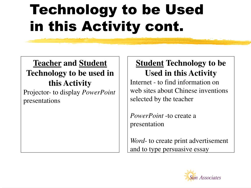 Technology to be Used in this Activity cont.