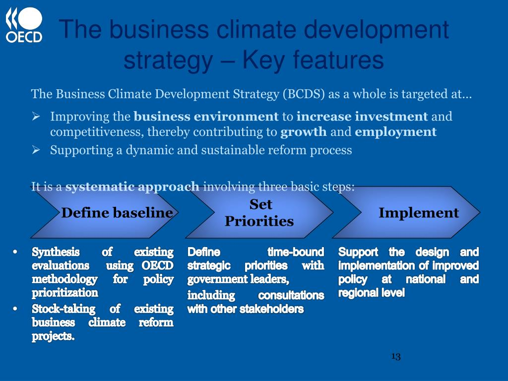 The business climate development strategy – Key features