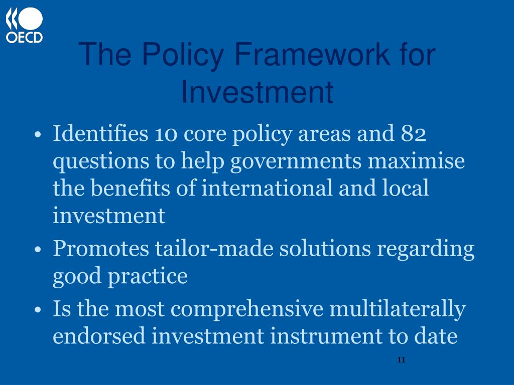 The Policy Framework for Investment