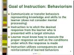 goal of instruction behaviorism