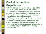 goal of instruction cognitivism