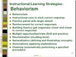 instructional learning strategies behaviorism