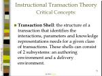 instructional transaction theory critical concepts71
