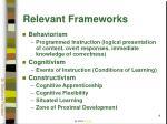 relevant frameworks