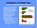 utilization of health care number of medical contacts in past year