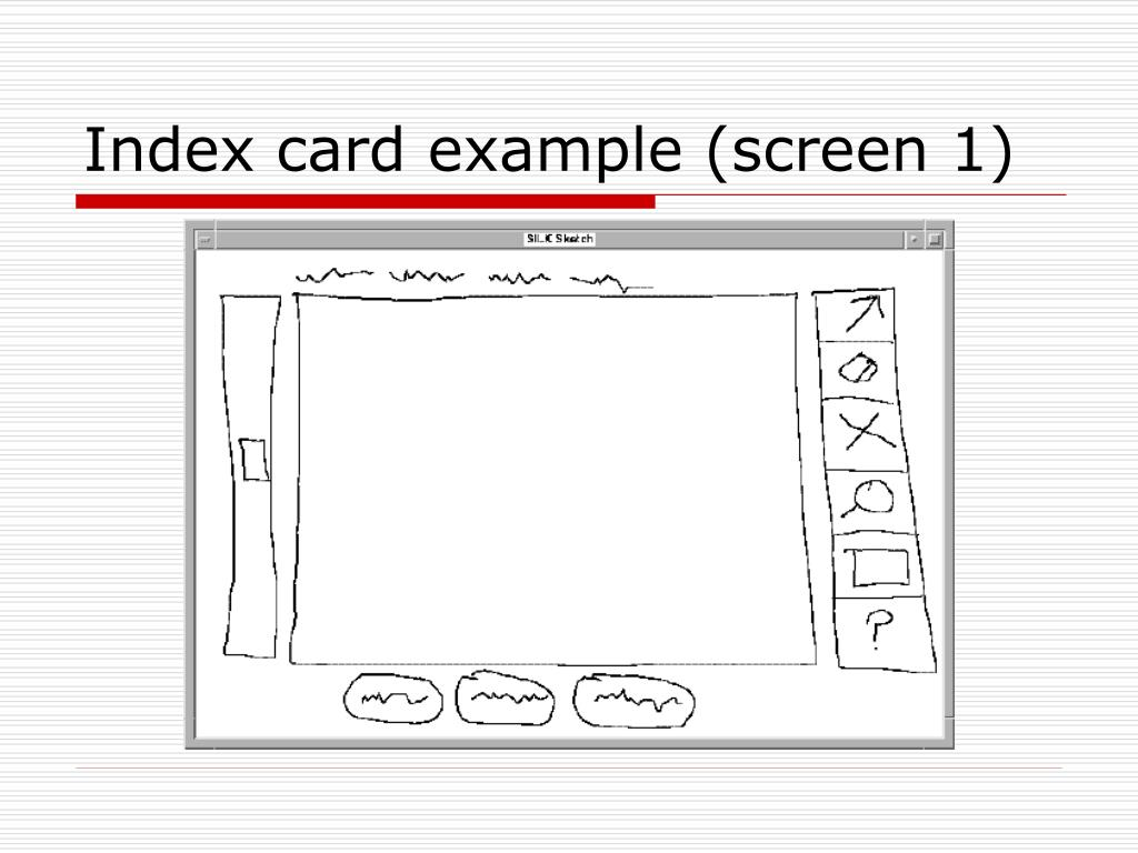 Index card example (screen 1)