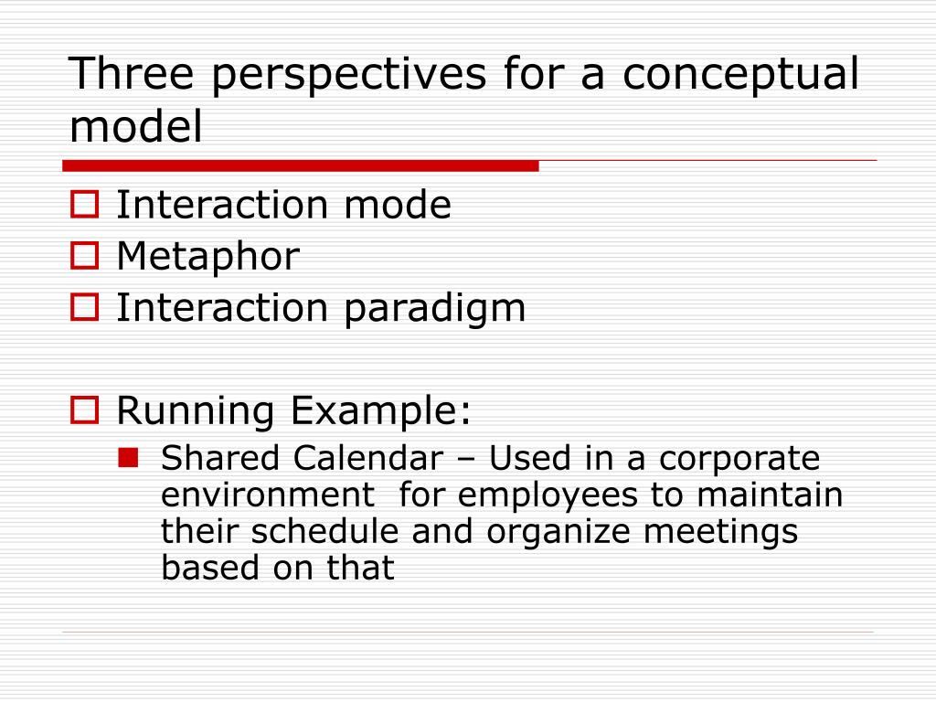 Three perspectives for a conceptual model