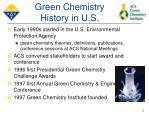 green chemistry history in u s