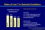 rates of low t in selected conditions