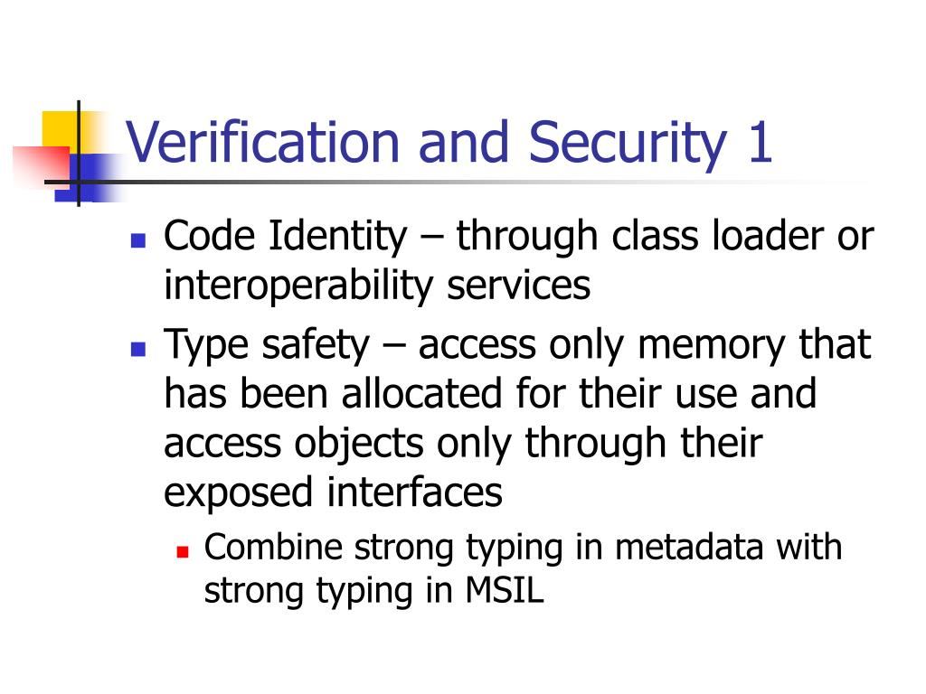 Verification and Security 1