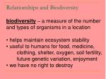 relationships and biodiversity60