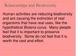relationships and biodiversity62