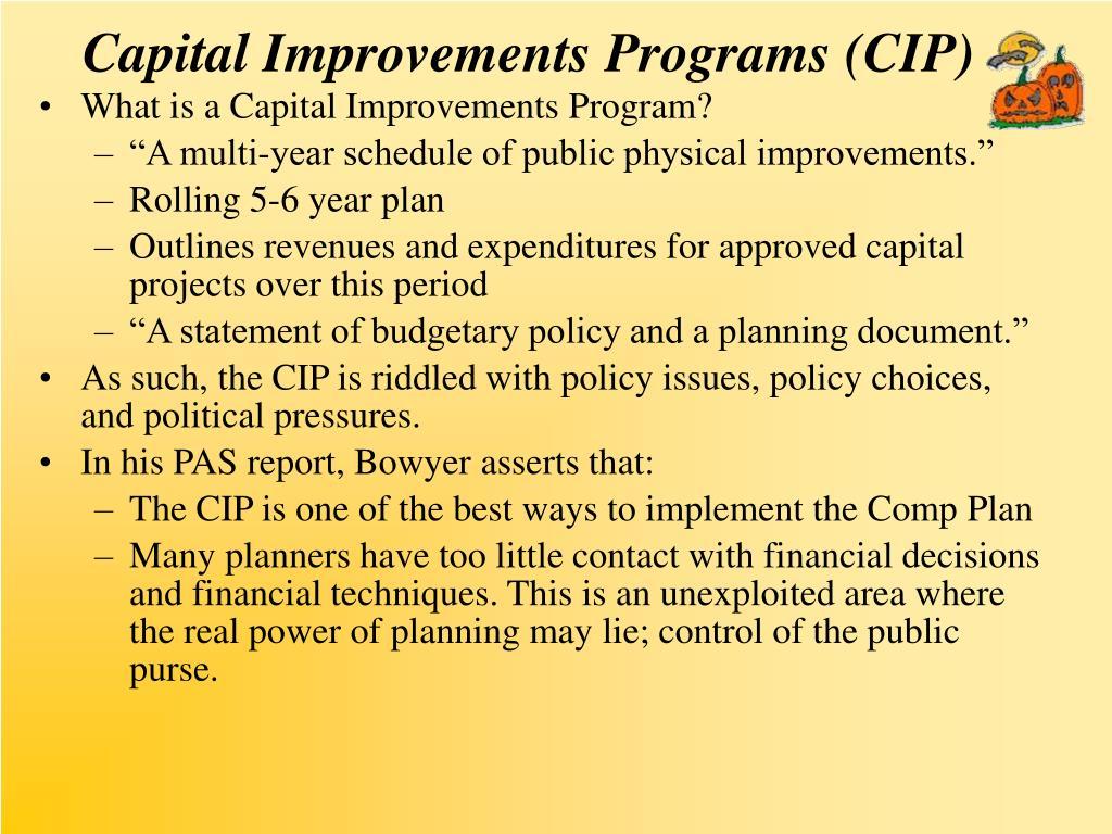Capital Improvements Programs (CIP)