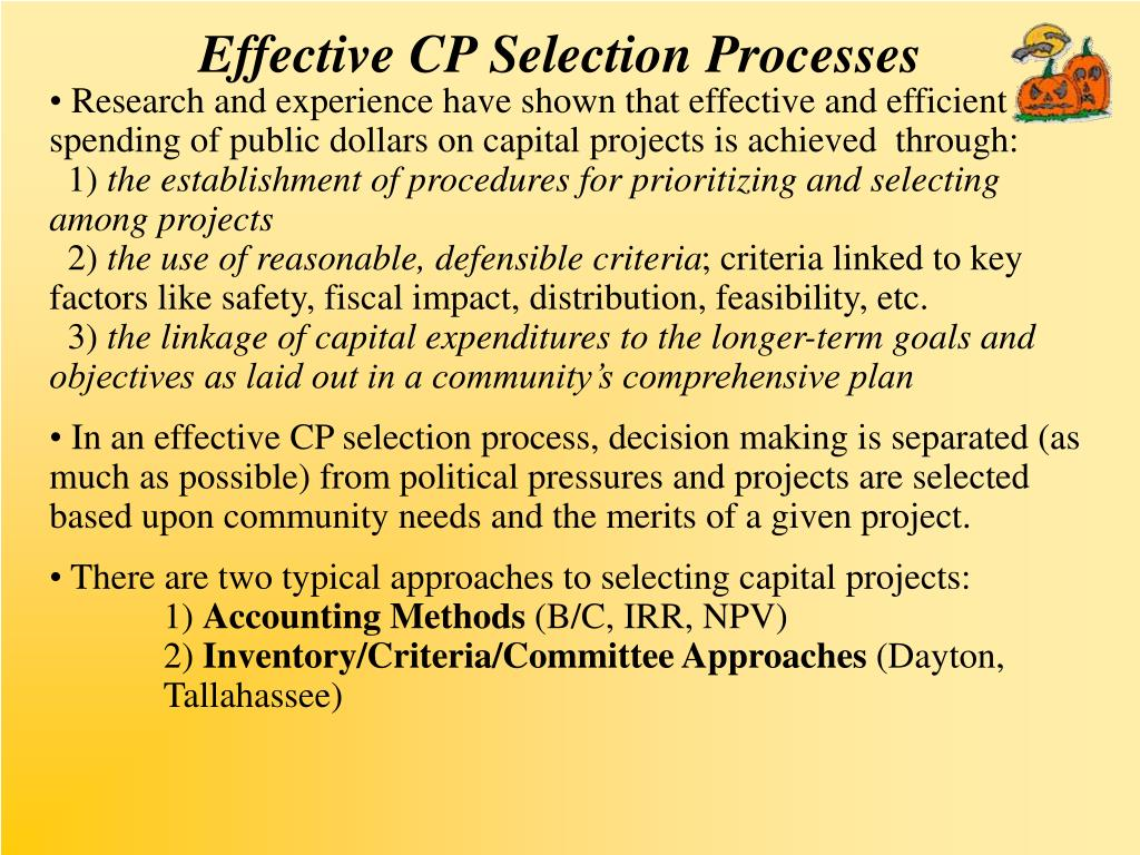Effective CP Selection Processes