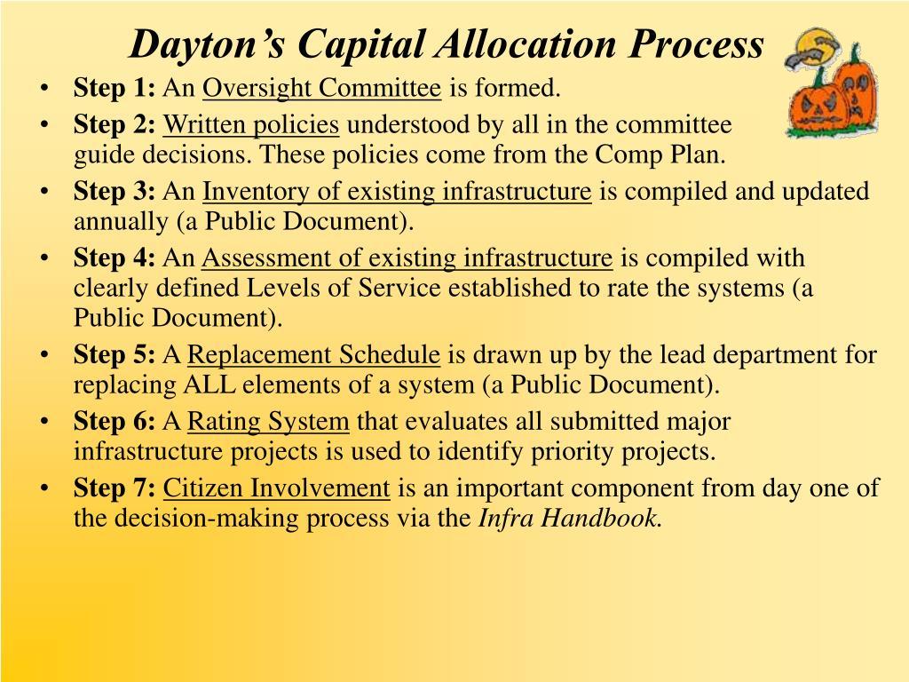 Dayton's Capital Allocation Process