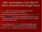 mafic assemblages of the high p t series blueschist and eclogite facies