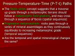 pressure temperature time p t t paths