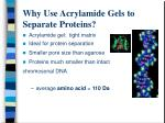 why use acrylamide gels to separate proteins