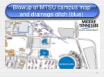 blowup of mtsu campus map and drainage ditch blue