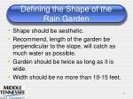 defining the shape of the rain garden