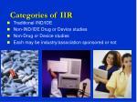 categories of iir